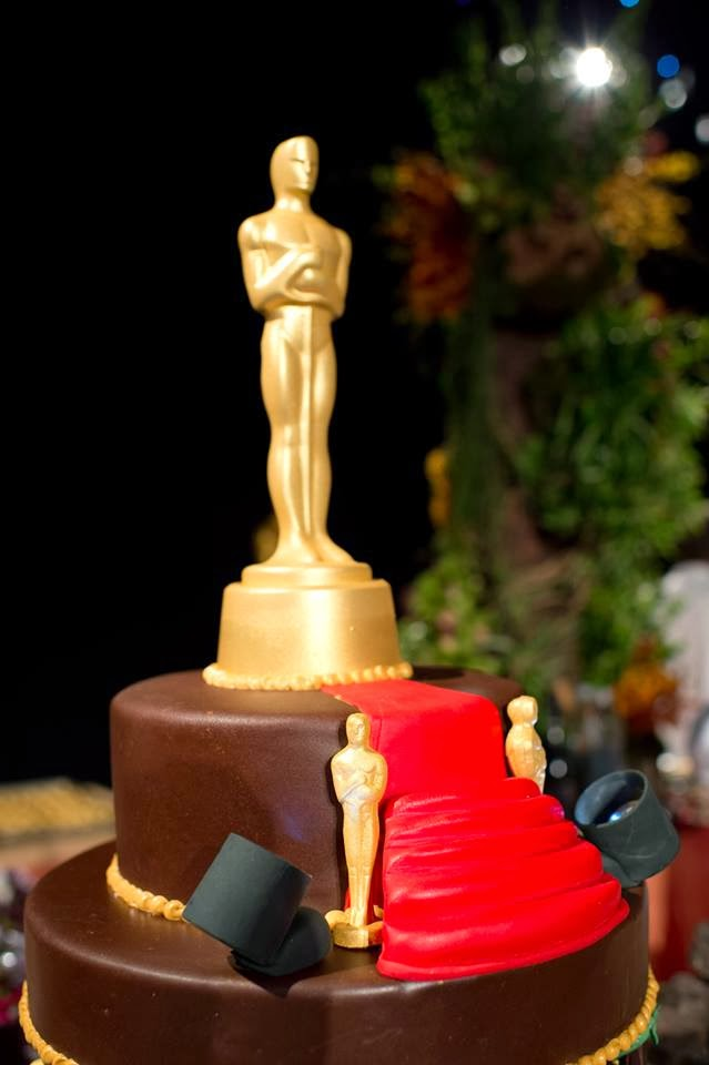 2014 the top of the chocolate cake features a red carpet naturally