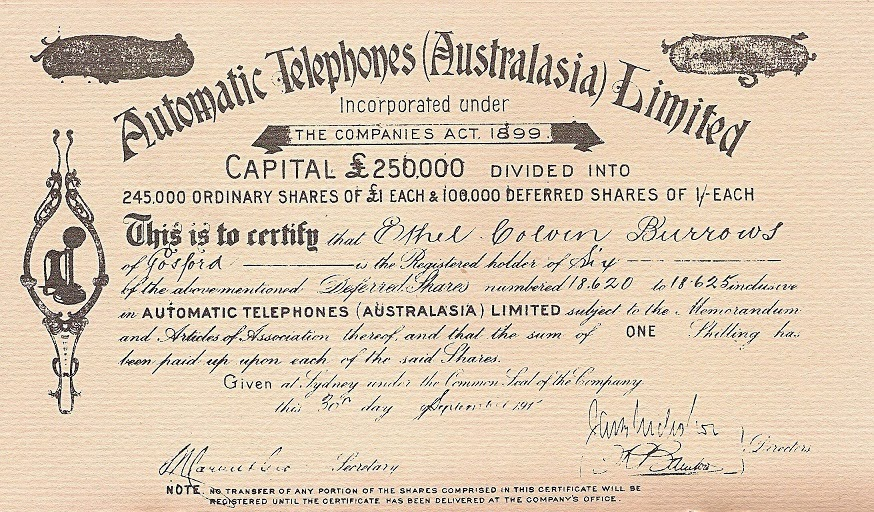 Automatic Telephones (Australasia) Limited stock certificate