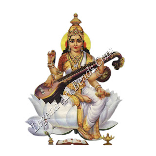 Saraswati, goddess of knowledge, who accepted Vishnu as her guardian.