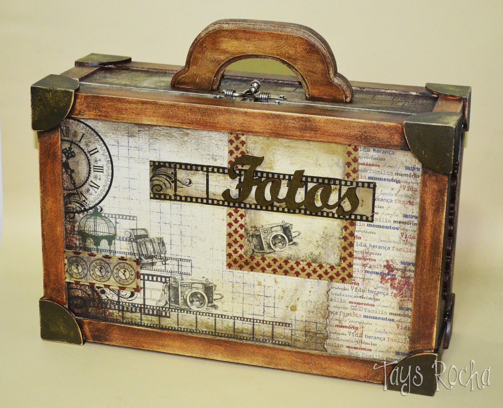 tays rocha maleta vintage em scrap decor workshop true
