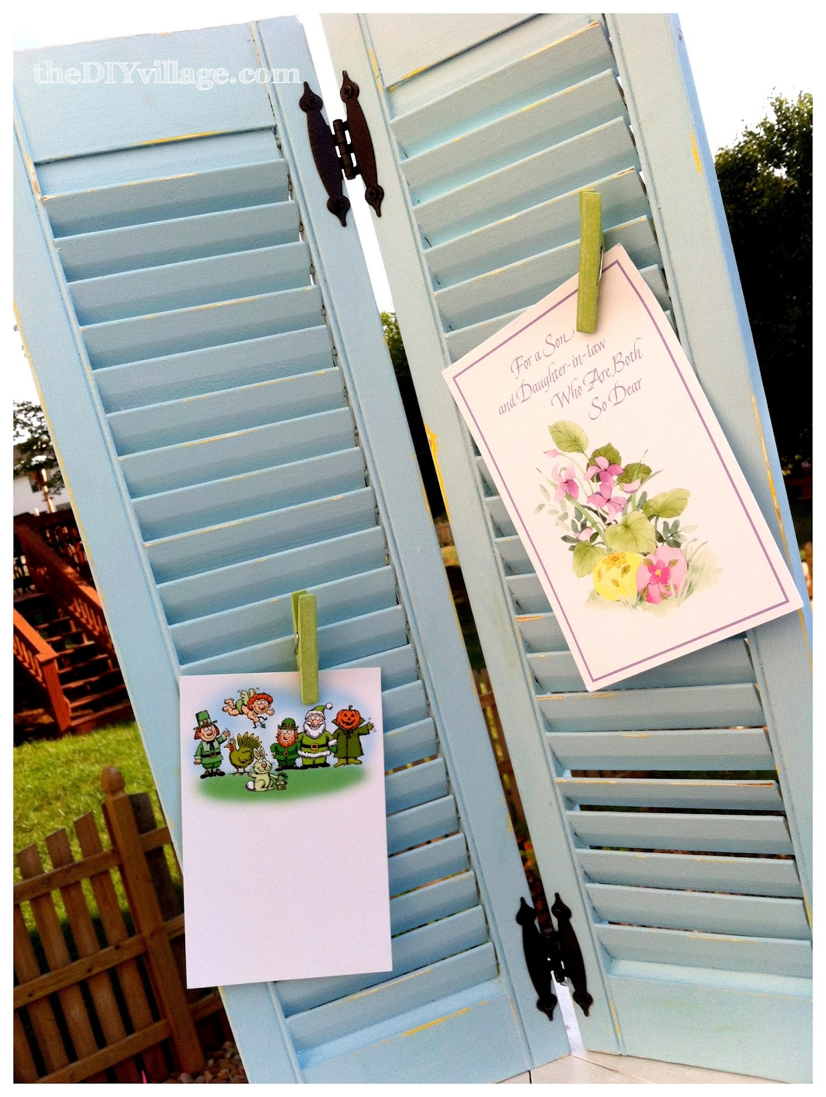 Diy greeting card display repurposed shutters the diy village old shutters m4hsunfo