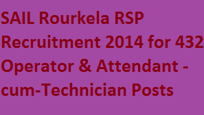 SAIL Rourkela 432 Vacancies Recruitment 2014-Apply for Operator Cum Technician and Attendant Cum Technician Posts in Online at www.sail.co.in Careers