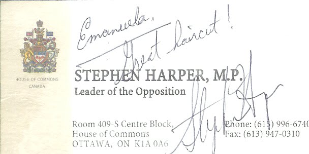 Business card signed by Stephen Harper after cut and style