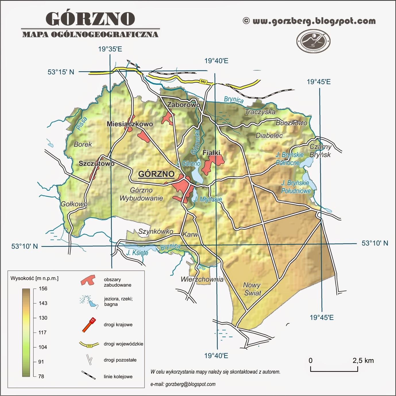 Mapa ogólnogeograficzna gminy Górzno