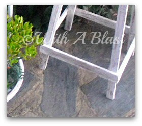 with a blast, patio potplant table, patio table, distressing painted wood,