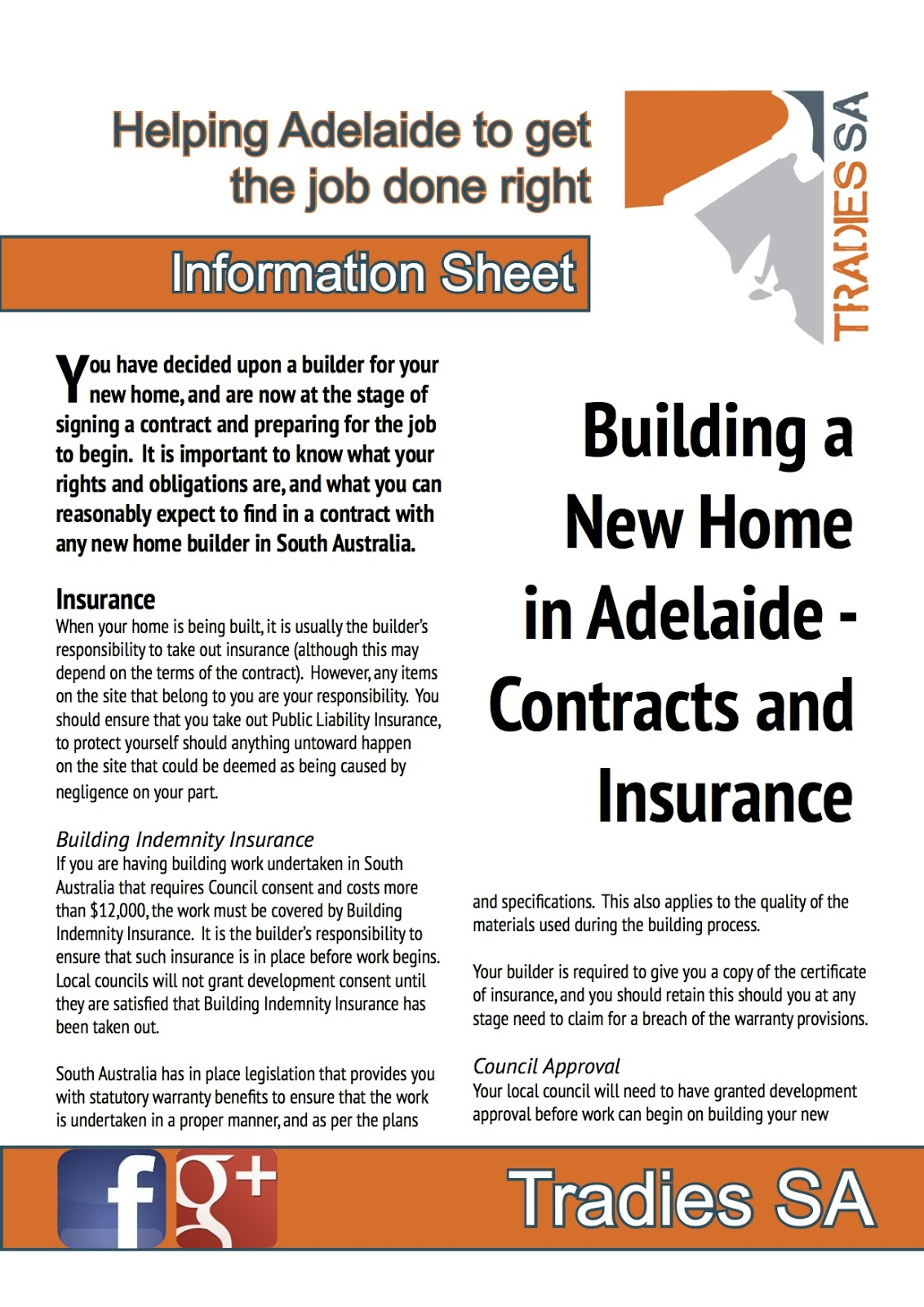 Tradies sa find tradies in adelaide march 2013 for New home construction insurance