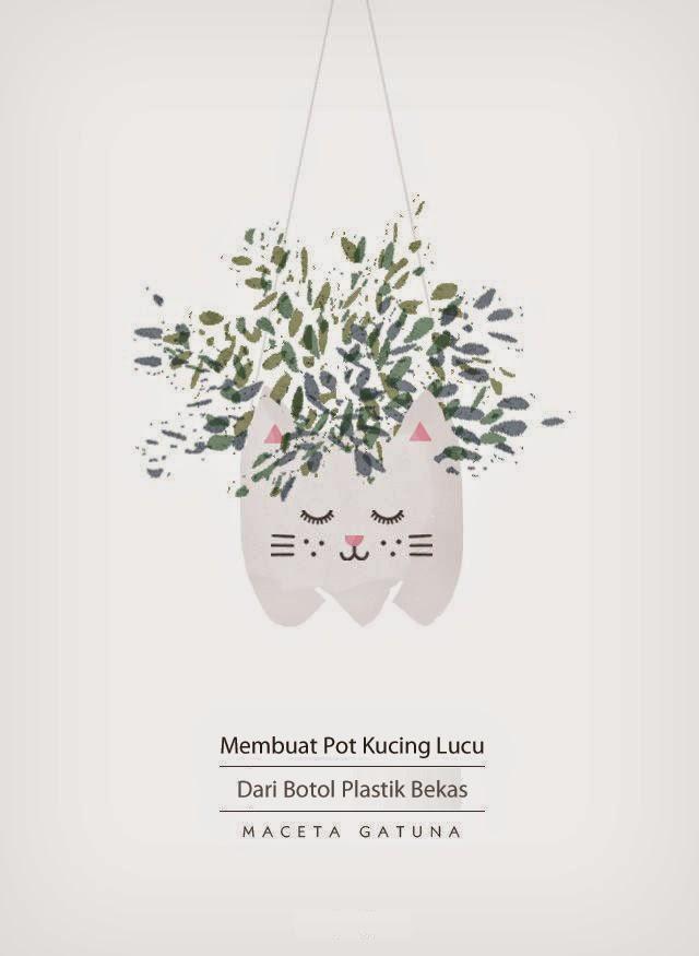 Membuat Pot Kucing Lucu Dari Botol Bekas 4