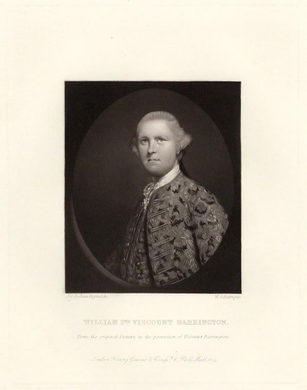 William Wildman Barrington, 2nd Viscount Barrington by W.A. Rainger, after Sir Joshua Reynolds, 1864 (1762)