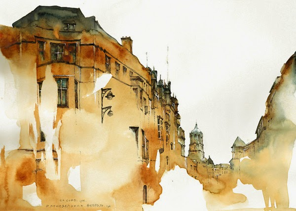 Water colour picture of Street of Oxford