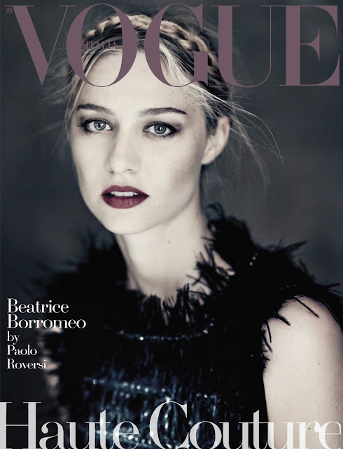 Beatrice Borromeo in Haute Couture dresses take on the cover of Vogue Italy Magazine September