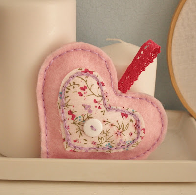 felt embroidered heart applique