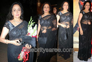 Hemamalini in black lace blouse