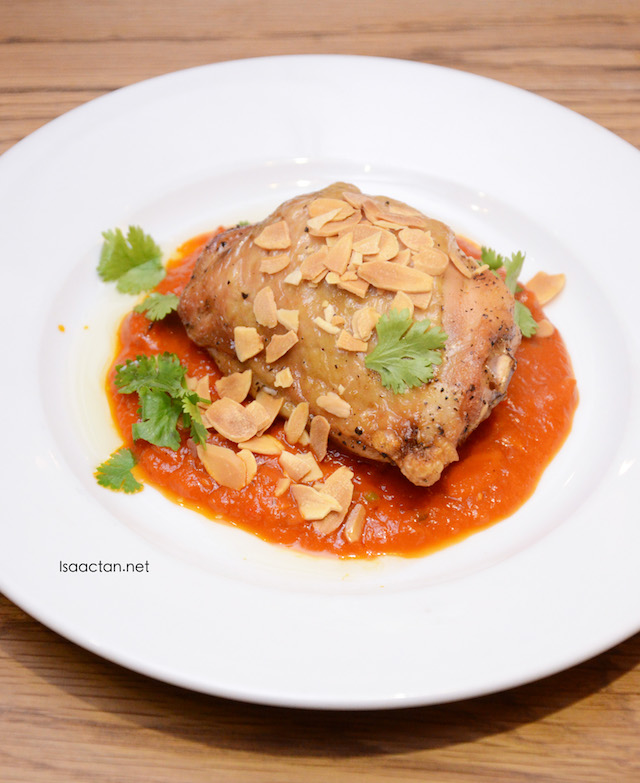 Baked Chicken Thigh with Romesco Sauce and Toasted Almonds - RM15.50