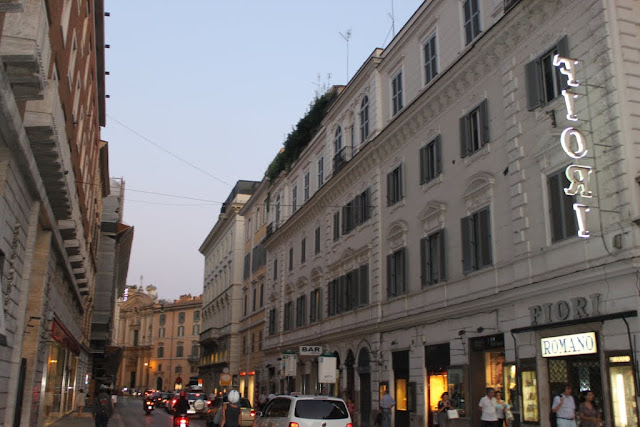 A row of historical buildings in the city of Rome, Italy