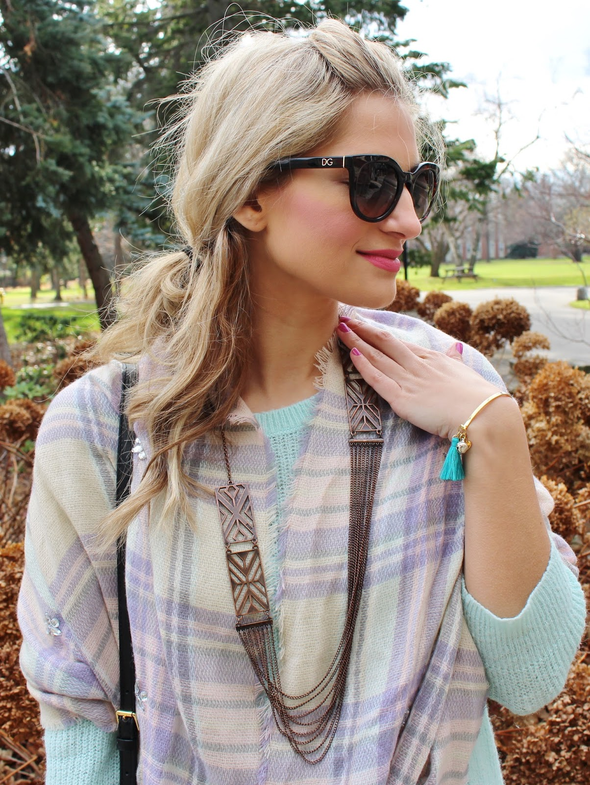 Bijuleni- plaid scarf and Foxy originals jewellery