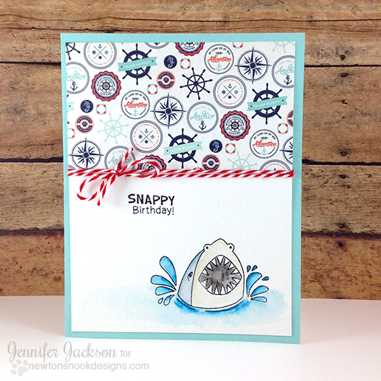 Freshly Made Sketches Sponsor | Shark card by Jennifer Jackson | Shark Bites Stamp set by Newton's Nook Designs
