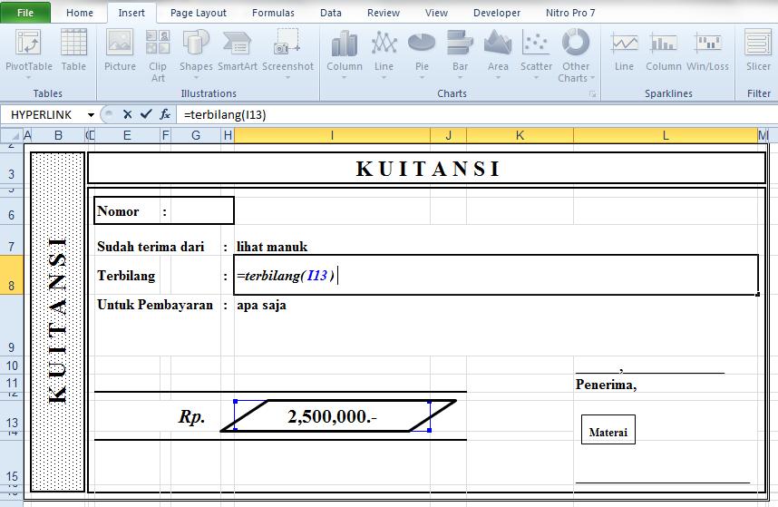 Membuat Terbilang Di Kwitansi Pada Excel
