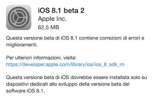Apple iOX 8.1 beta 2