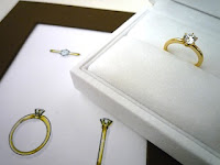 オーダージュエリーサロンでデザインしてもらったイエローゴールドに拘ったエンゲージリング(婚約指輪)。