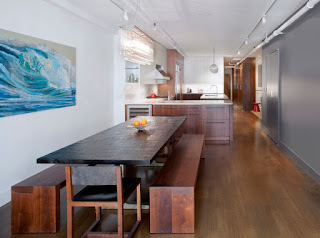 Innovative Design for the Long Dining Sets With Benches near the Wooden Kitchen Space on Hardwood Floor