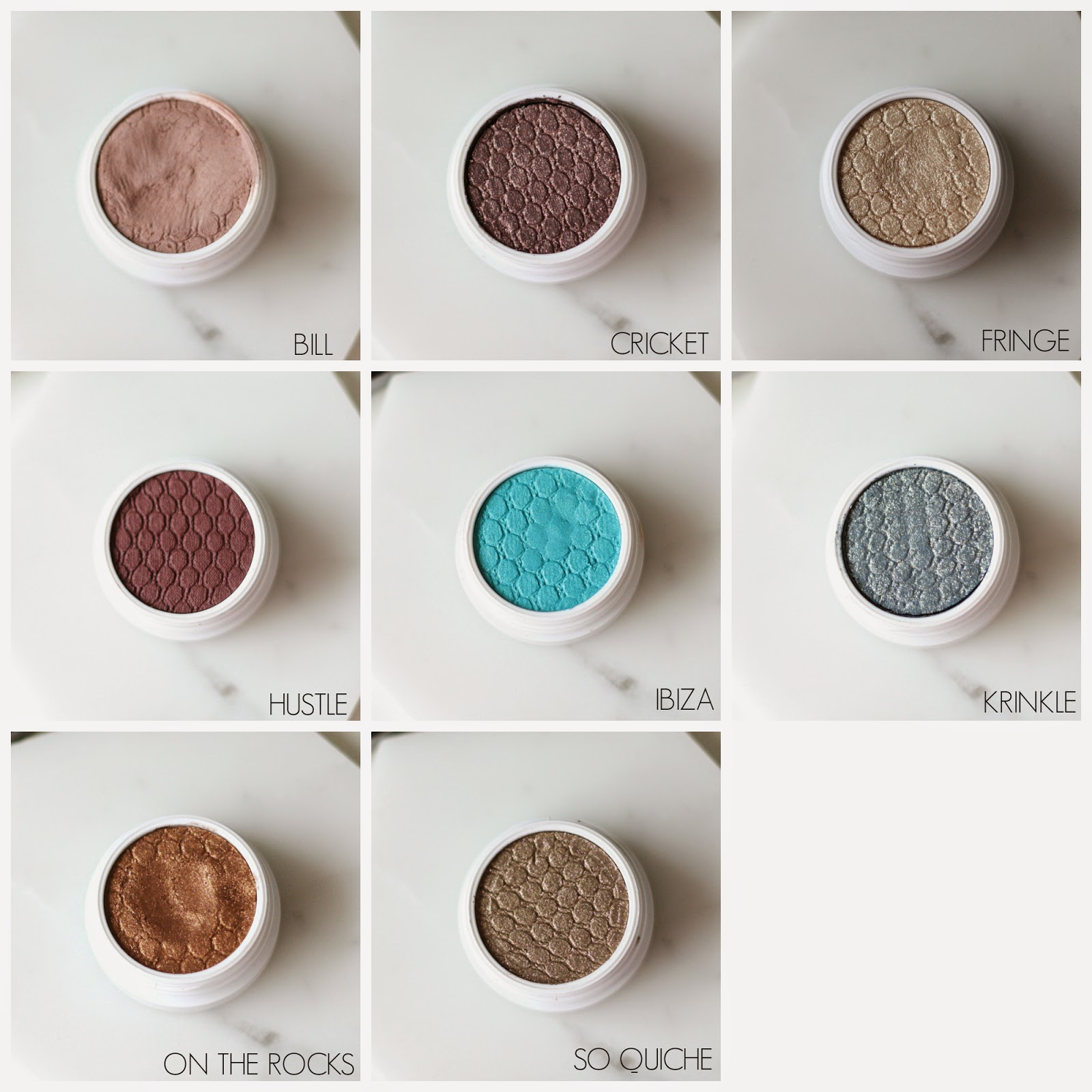 Colour Pop Eyeshadows, Bill, Cricket, Fringe, Hustle, Ibiza, Krinkle, On the Rocks, So Quiche,