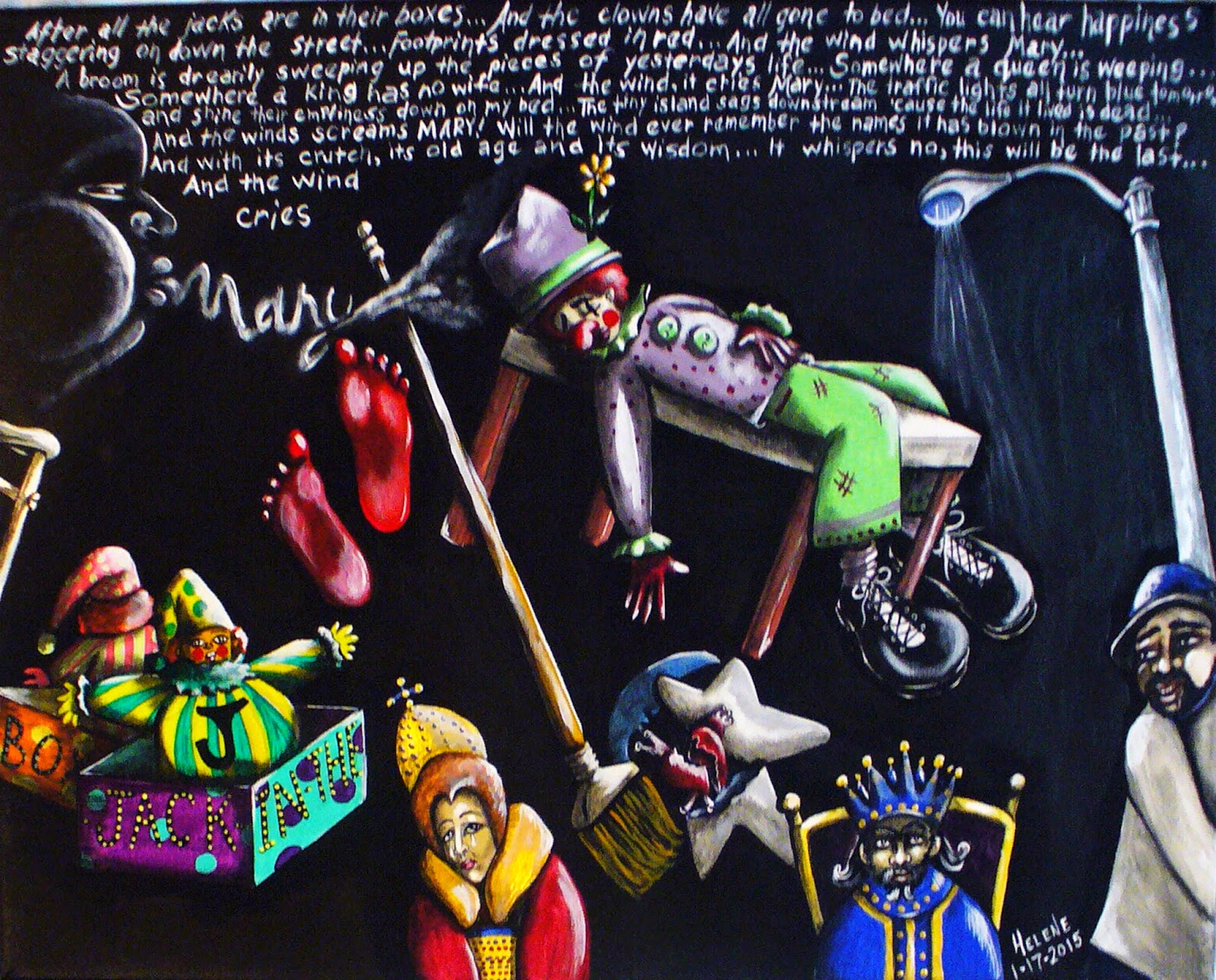 Visual illustration in acrylic paint on black background of characters from the Jimi Hendrix song of the same name