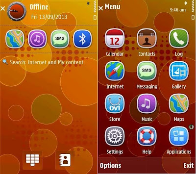 Red orbs by Im-Venky theme for Symbian S60v5