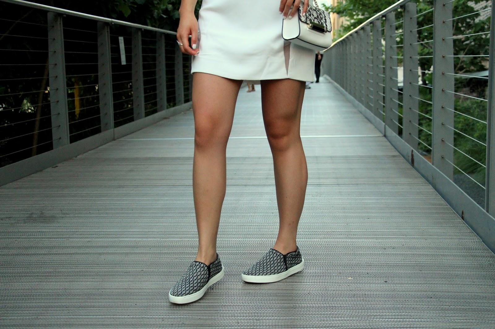 Shakuhachi white cut out dress Rag and Bone Kent sneakers