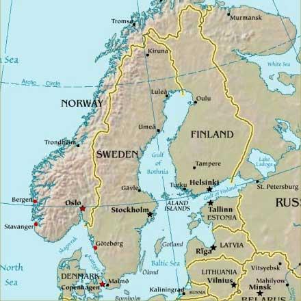 google maps europe: Map of Scandinavia Countries Region