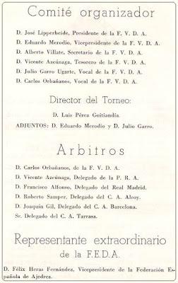 Comités del II Campeonato de España de Ajedrez por Equipos (1)