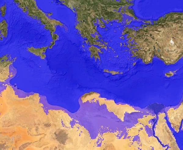 North Africa coast if increase of global sea level on 150 meters