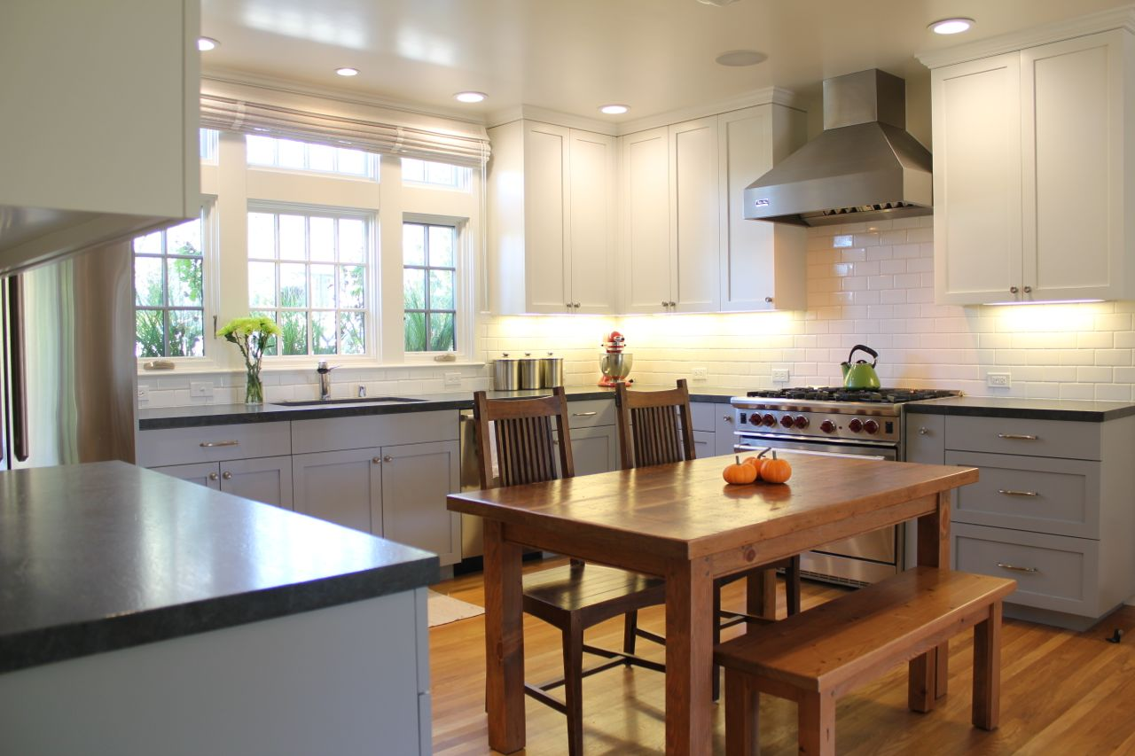 New kitchen ideas on pinterest craftsman style kitchens for Blue and white kitchen cabinets