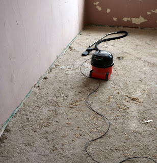 Hoovering up the loose bits of floor, and rabbit poo