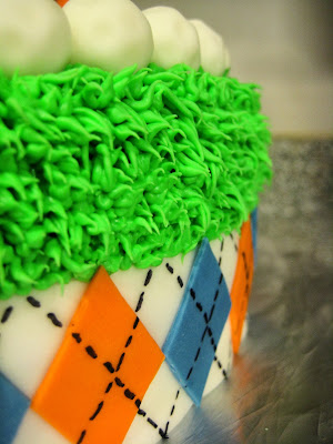 Golf Themed Cake - Close-Up View of Mini Golf Balls, Grass, and Argyle