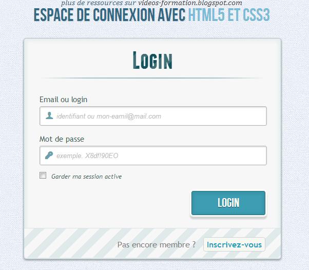 espace de connexion avec html 5 et css 3