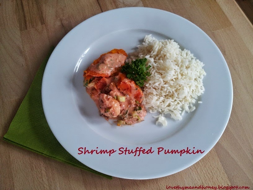 shrimp stuffed pumpkin