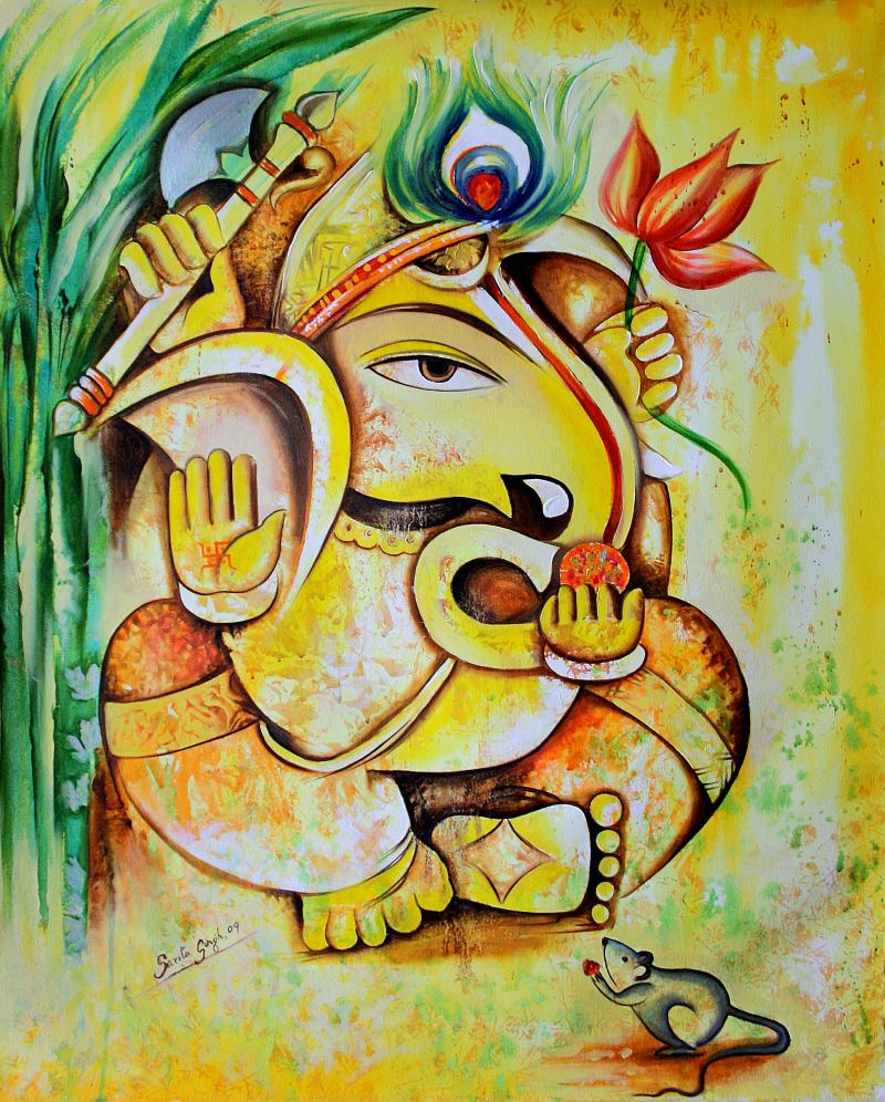 Lord ganesha beutiful painting sbstracts god wallpapers for Mural art of ganesha