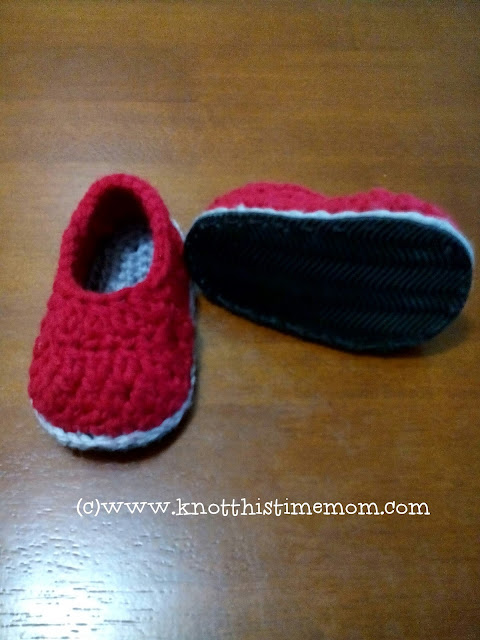 turning crochet shoes into street shoes