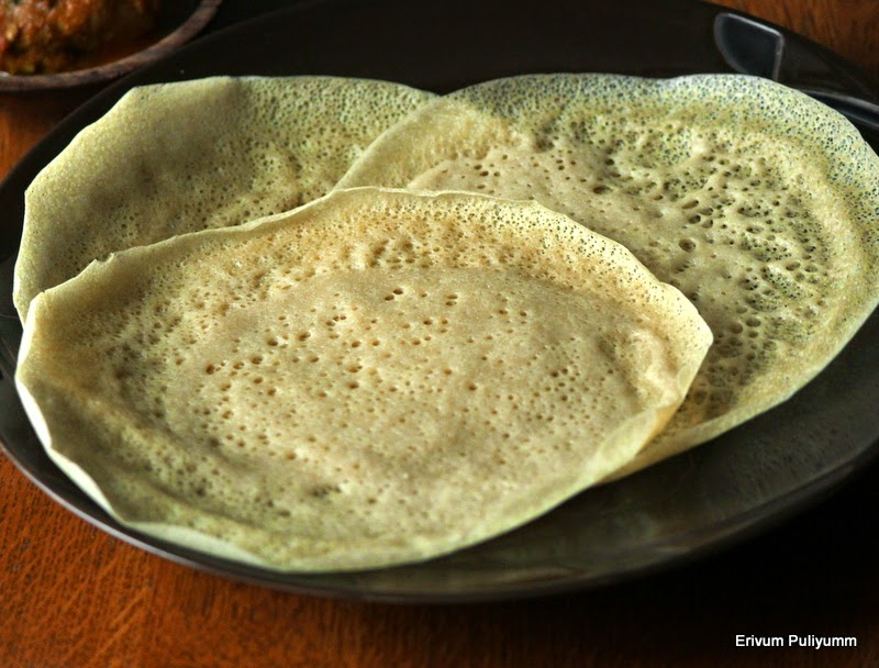 whole wheat paalappam | laced wheat pancakes with coconut milk