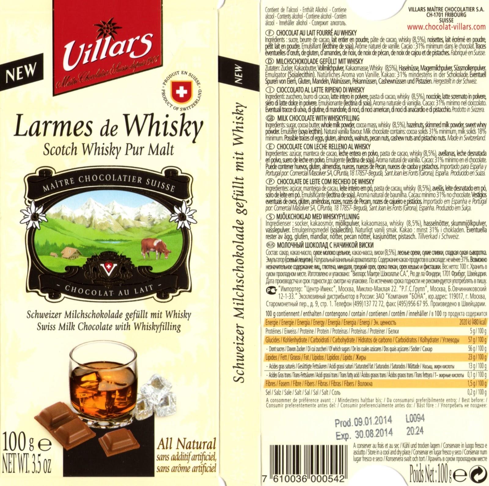 tablette de chocolat lait fourré villars lait larmes de whisky