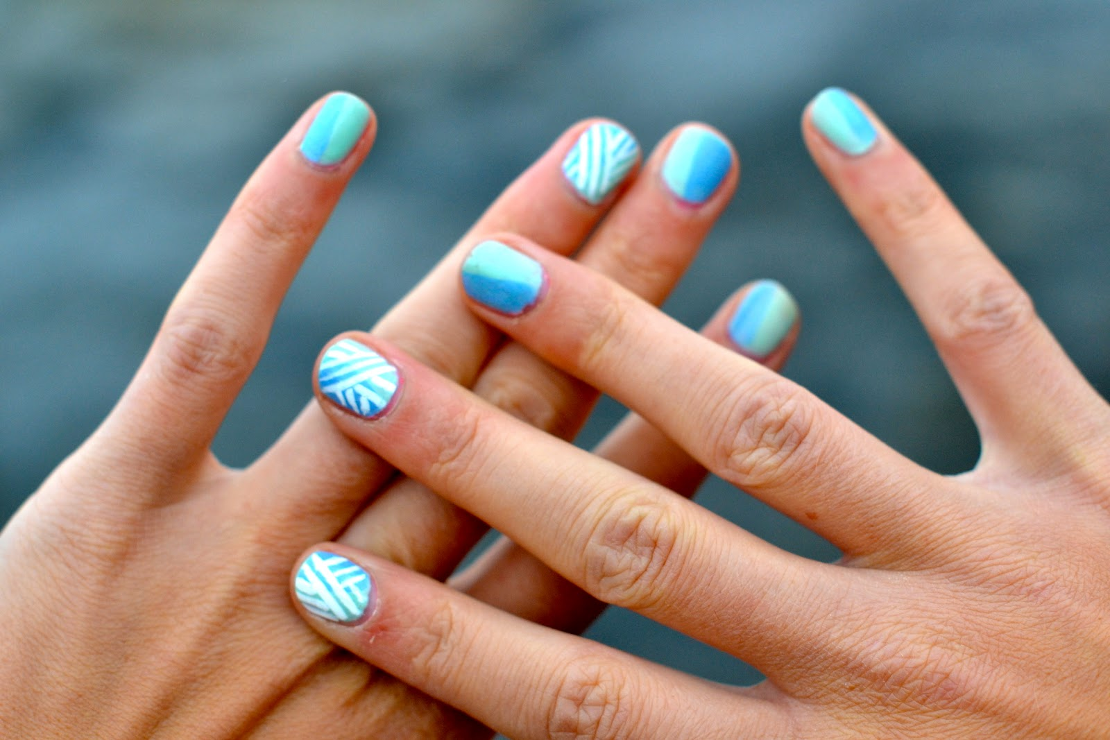 Blue nail designs polish