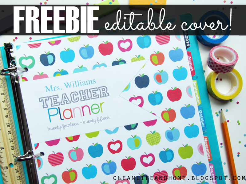 clean life and home freebie teacher planner cover with editable