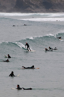 Crowded beaches surfing in Newquay