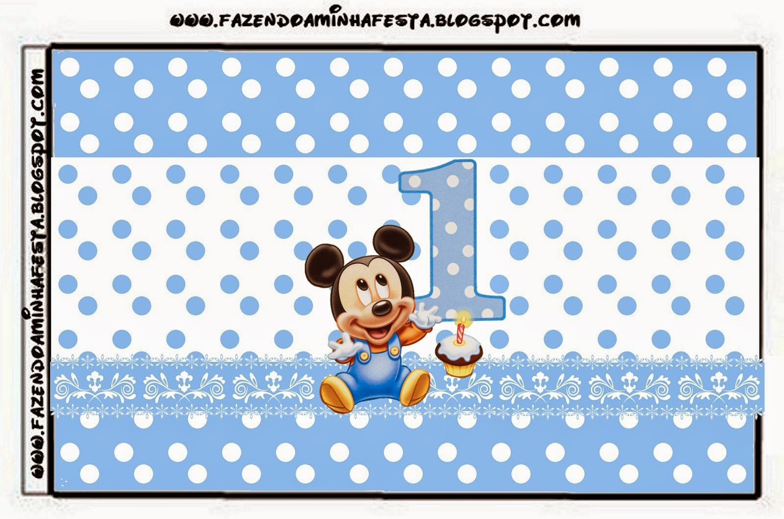 first year of mickey with polka dots free printable candy bar