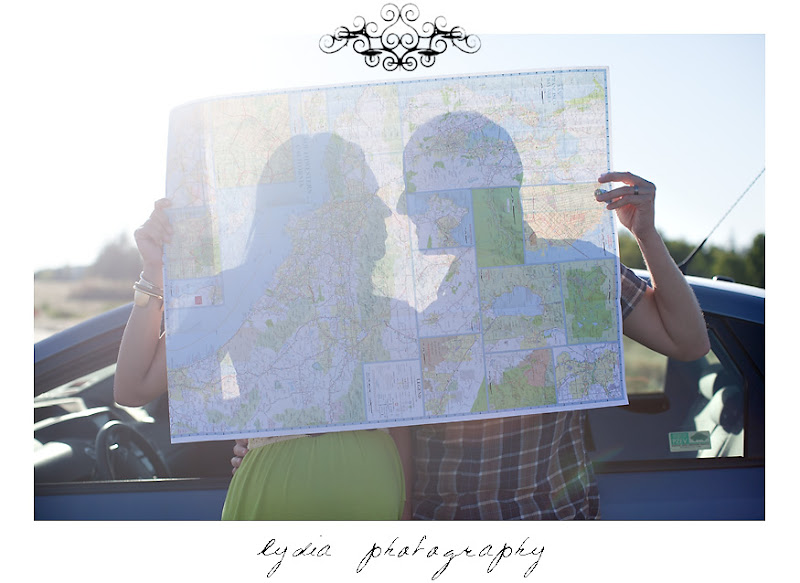 Lifestyle maternity portraits map silhouette at William Jessup University in Rocklin, California