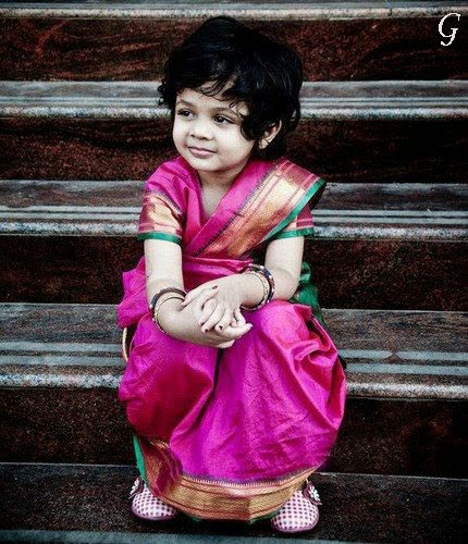 Babies Saree Pictures-Cute Kids Saree Images