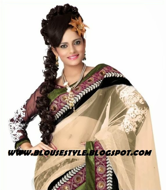 youth full and beautiful net half and half saree