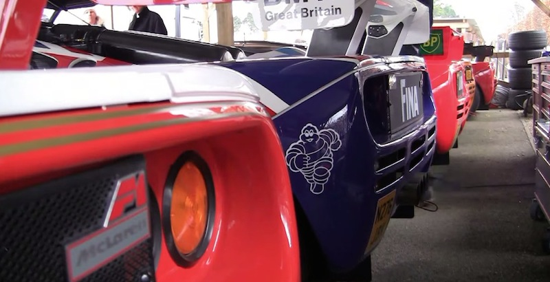 世界に28台しか存在しない「マクラーレンF1 GTR」が16台も集結して走行!