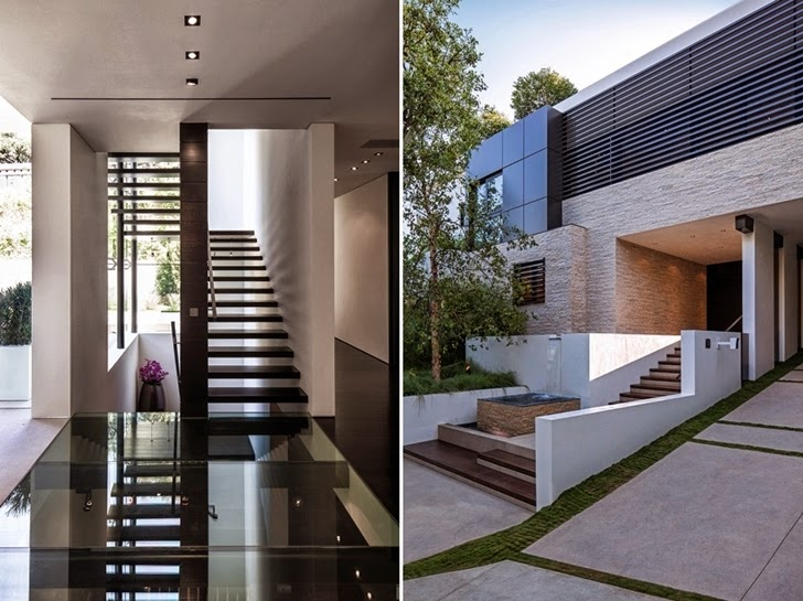 Stairs and facade on Perfect modern mansion in Beverly Hills