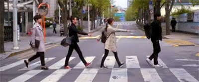 The rookies in a crosswalk ala Abbey Road.